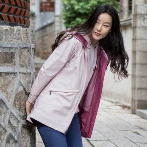 2019春夏新品女长款防水冲锋衣